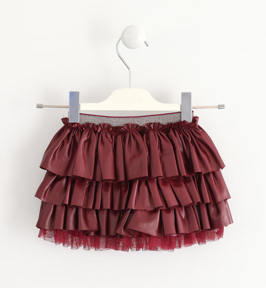 Delightful Sarabanda skirt made of very soft stretch jersey with an eco leather effect coating for baby girls from 6 months to 7 years BORDEAUX-2537