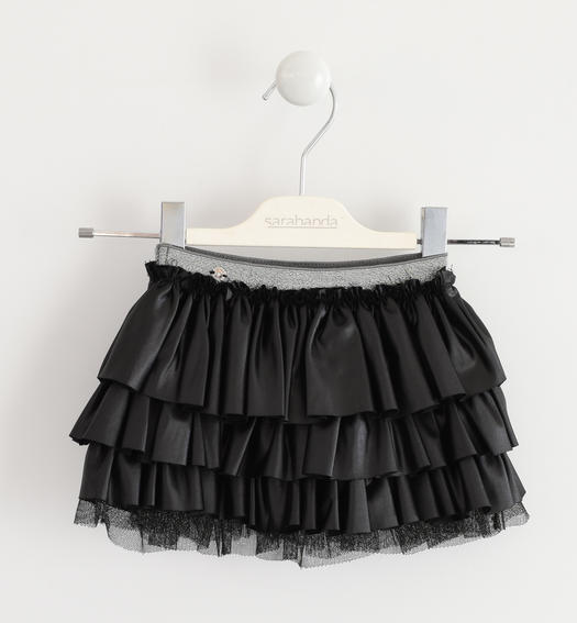 Delightful Sarabanda skirt made of very soft stretch jersey with an eco leather effect coating for baby girls from 6 months to 7 years NERO-0658
