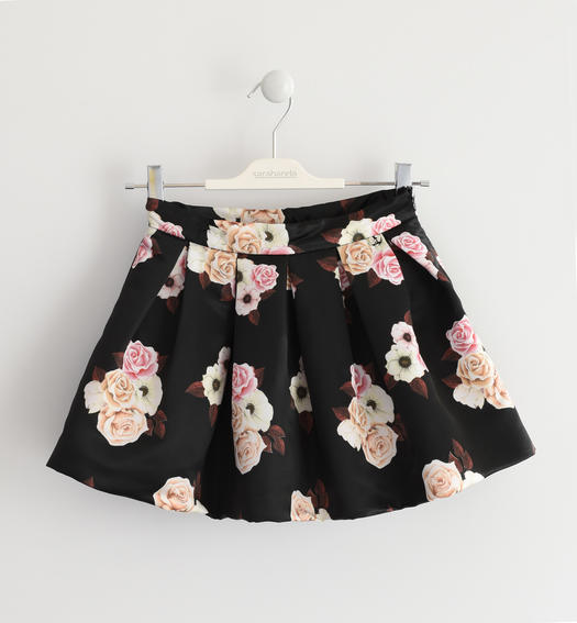 Gonna in satin dalla fantasia floreale per bambina da 6 a 16 anni Sarabanda NERO-MULTICOLOR-6LL9