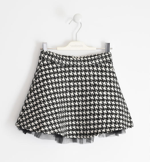 Houndstooth Chanel fabric skirt for girl from 6 to 16 years Sarabanda NERO-0658