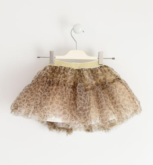 Tulle skirt with lurex elastic band for girl from 6 months to 7 years Sarabanda ECRU'-MARRONE-6NY4