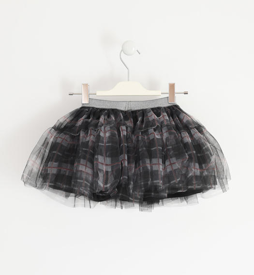 Tulle skirt with lurex elastic band for girl from 6 months to 7 years Sarabanda PANNA-NERO-6NY5