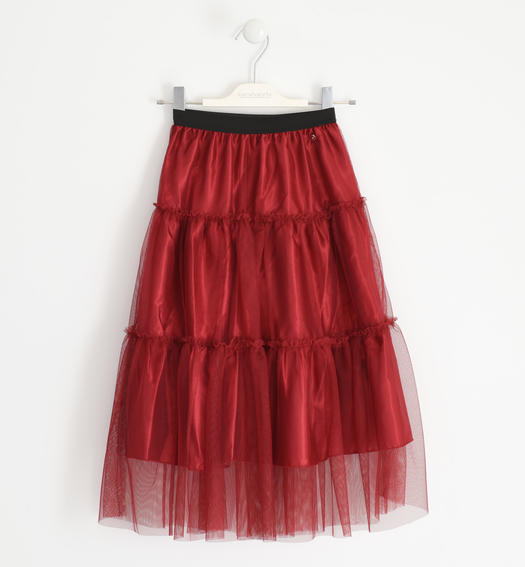 Eefined tulle skirt with polka dots for girl from 6 to 16 years Sarabanda BORDEAUX-2548