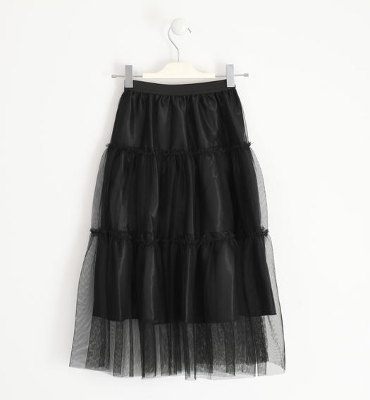 Eefined tulle skirt with polka dots for girl from 6 to 16 years Sarabanda NERO-0658
