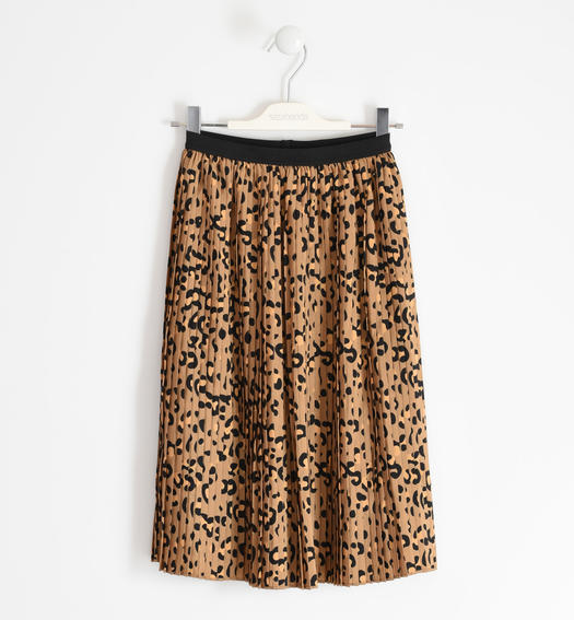 Spotted print midi skirt for girl from 6 to 16 years Sarabanda MARRONE-MULTICOLOR-6NZ8