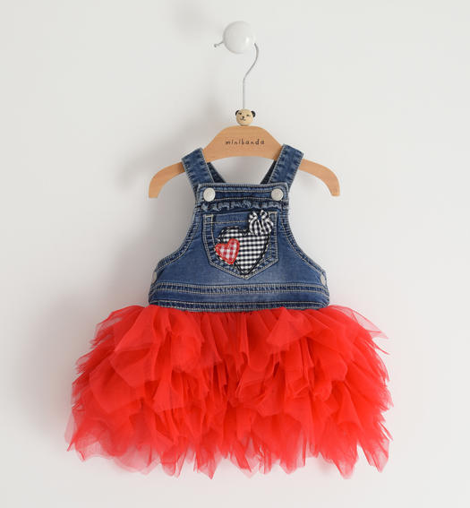 Stretch cotton blend newborn girl dungarees skirt for baby girl from 0 to 24 months Minibanda ROSSO-2256