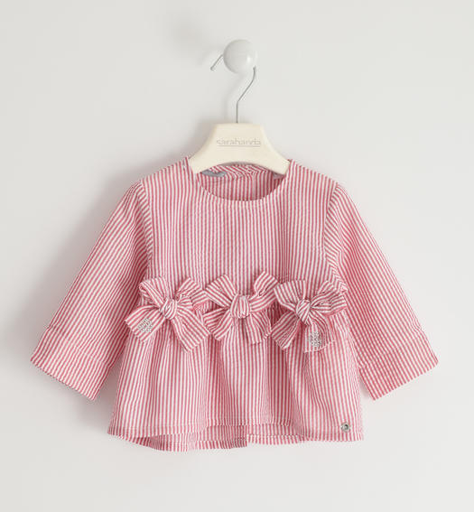 Pretty shirt in striped fabric for baby girl from 6 months to 7 years Sarabanda ROSSO-2256