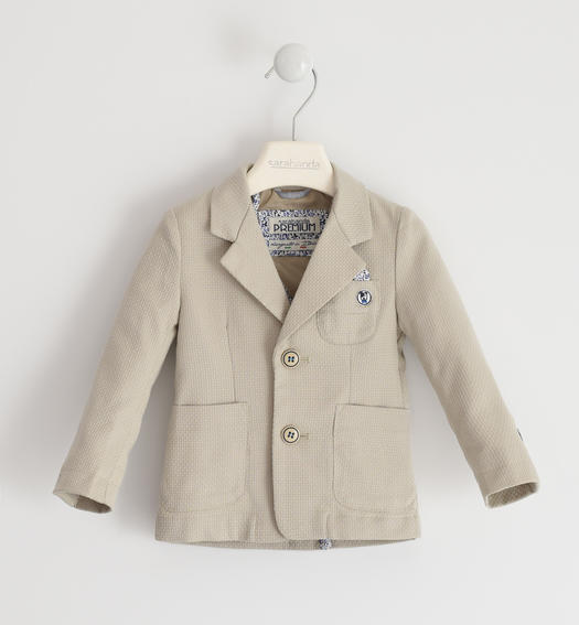 Pretty micro patterned jacket for boy from 6 months to 7 years old Sarabanda BEIGE-0435