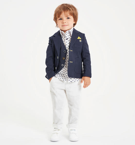 Pretty micro patterned jacket for boy from 6 months to 7 years old Sarabanda NAVY-3885