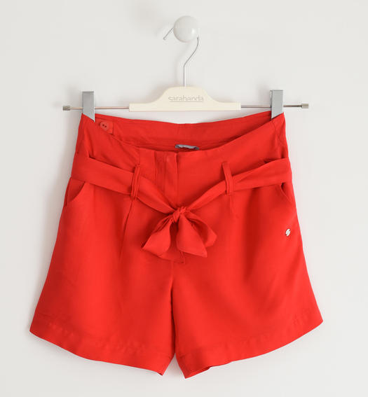 Pretty viscose bermuda shorts with sash for girl from 6 to 16 years Sarabanda ROSSO-2256