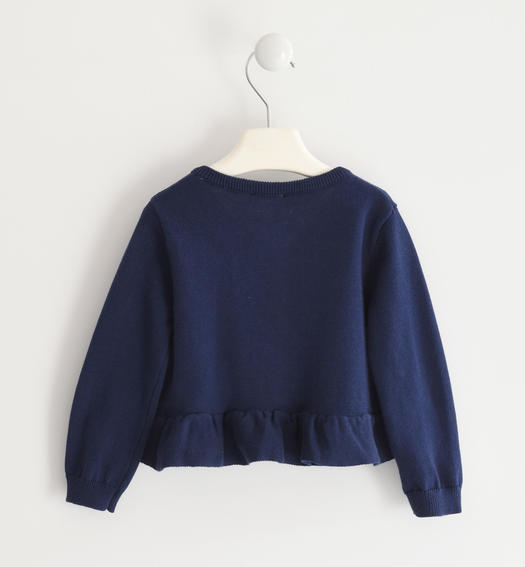 Pretty 100% cotton tricot cardigan for girl from 6 months to 7 years old Sarabanda NAVY-3854