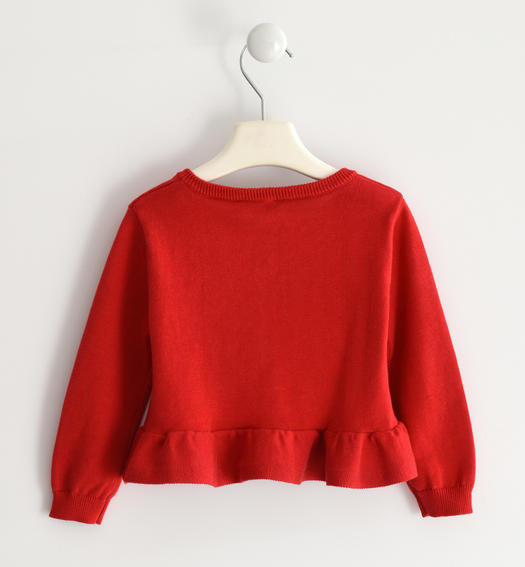 Pretty 100% cotton tricot cardigan for girl from 6 months to 7 years old Sarabanda ROSSO-2256