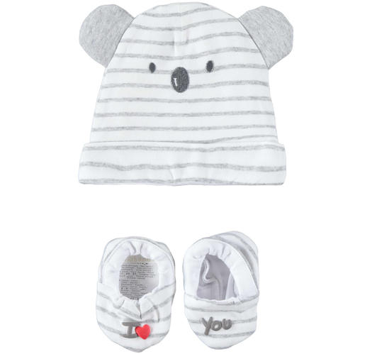 Very soft and comfortable baby boy kit with hat and slippers for newborn from 0 to 24 months Minibanda GRIGIO MELANGE-8992