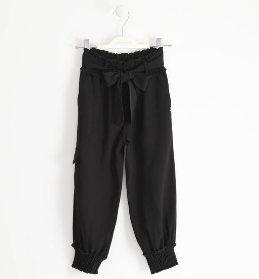 Gritty cargo model trousers with cuff on the bottom for girl from 6 to 16 years Sarabanda NERO-0658