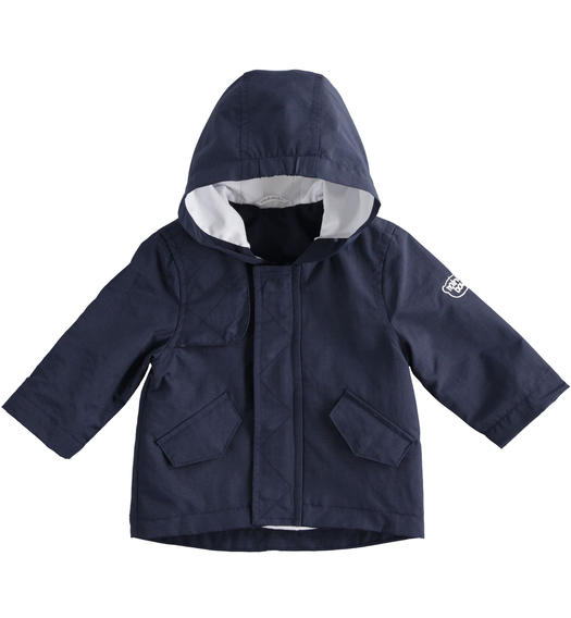 Blue baby boy jacket of opaque nylon parka model for baby boy from 0 to 24 months Minibanda NAVY-3885