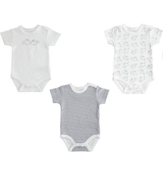 Kit made of 3 100% cotton baby bodysuits with short sleeves for babies from 0 to 24 months Minibanda BIANCO-0113