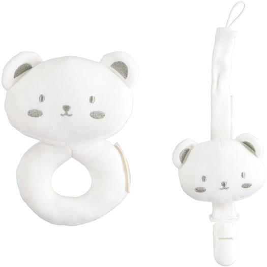 Newborn gift kit with pacifier holder and rattle for babies from 0 to 24 months Minibanda BIANCO-0113