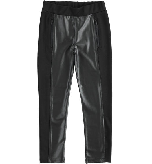 Leggings in eco-leather stretch fabric, with lateral bands in Milano stitch for girls from 6 to 16 years Sarabanda NERO-0658