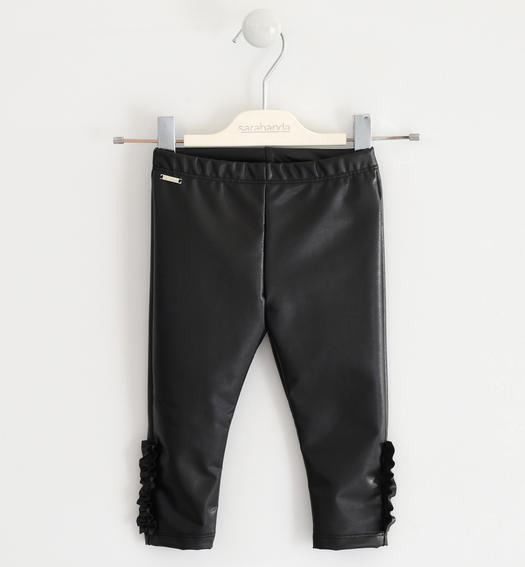 Faux leather leggings with ruffles for girl from 6 months to 7 years Sarabanda NERO-0658