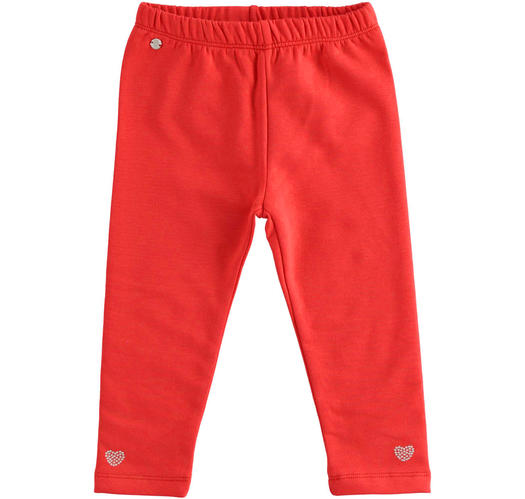 Leggings made of stretch jersey for baby girls from 6 months to 7 years Sarabanda ROSSO-2251
