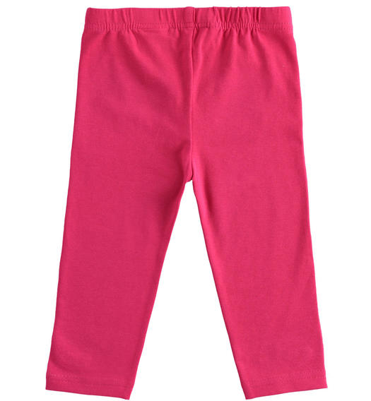 Solid colour stretch jersey leggings for girl from 6 months to 7 years old Sarabanda FUXIA-2355