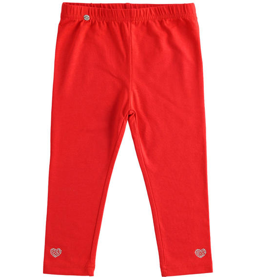 Solid colour stretch jersey leggings for girl from 6 months to 7 years old Sarabanda ROSSO-2256