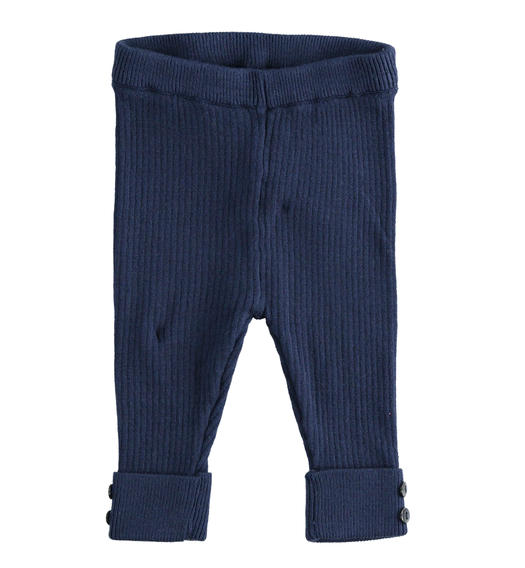 Ribbed viscose blend leggings for newborn girl from 0 to 24 months Minibanda NAVY-3854