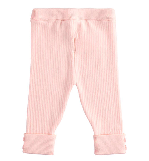 Ribbed viscose blend leggings for newborn girl from 0 to 24 months Minibanda ROSA-2763