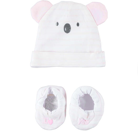 Very soft and comfortable baby boy kit with hat and slippers for newborn from 0 to 24 months Minibanda LIGHT PINK-5819