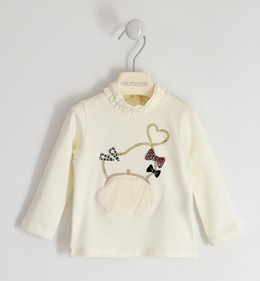 Turtleneck with faux fur application for girl from 6 months to 7 years Sarabanda PANNA-0112