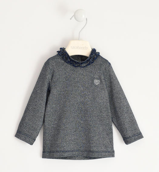 Lurex turtleneck with rhinestones for girl from 6 months to 7 years Sarabanda NAVY-3885