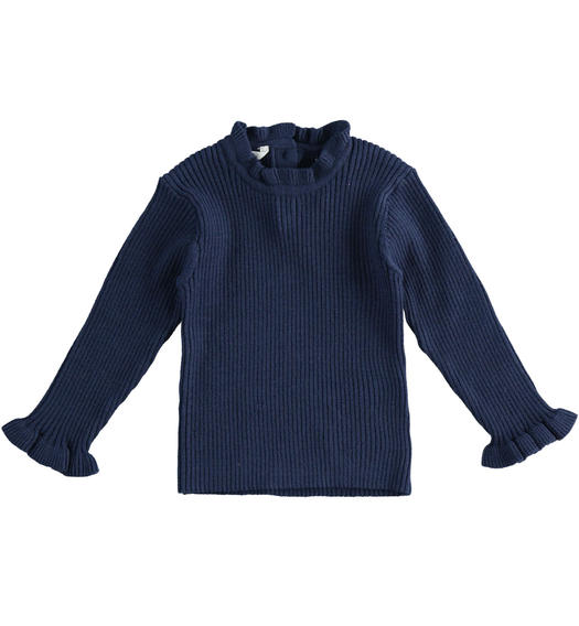 Knitted effect sweater for newborn girl from 0 to 24 months Minibanda NAVY-3854
