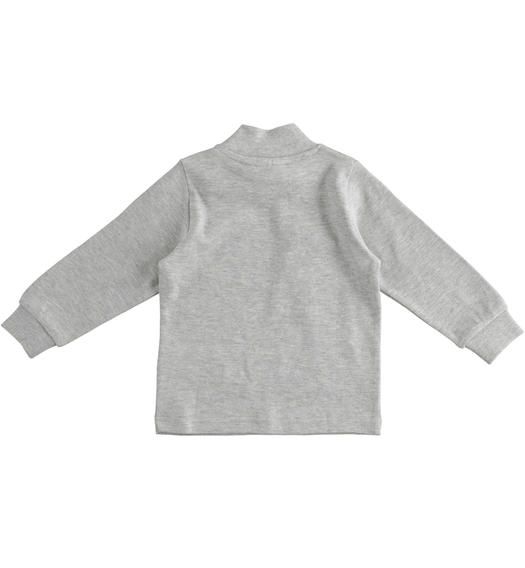 Solid colour turtleneck in cotton interlock for boy from 6 months to 7 years Sarabanda GRIGIO MELANGE-8992