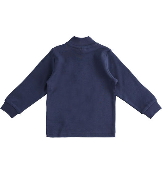 Solid colour turtleneck in cotton interlock for boy from 6 months to 7 years Sarabanda NAVY-3854