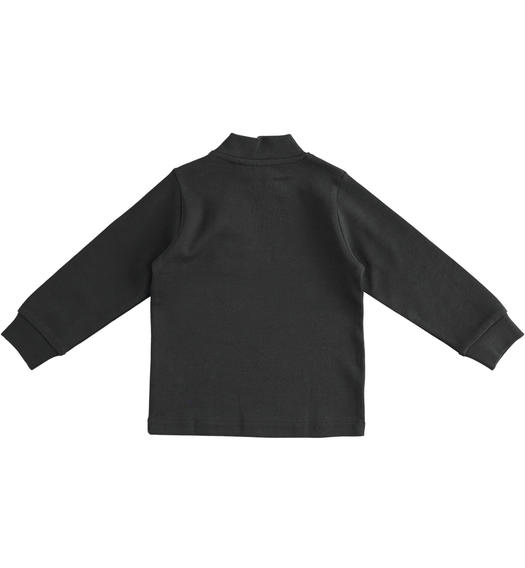 Solid colour turtleneck in cotton interlock for boy from 6 months to 7 years Sarabanda NERO-0658