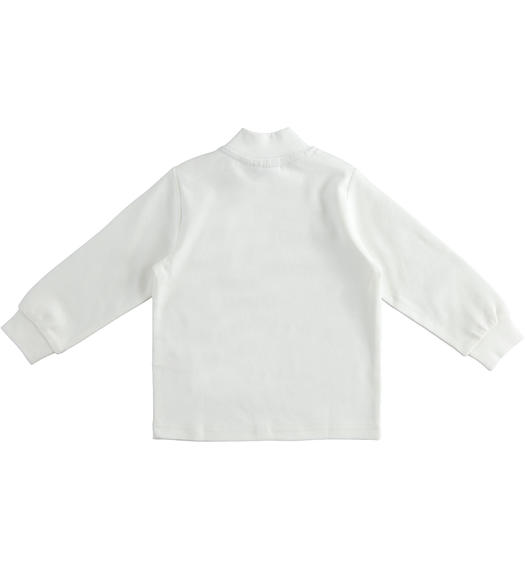 Solid colour turtleneck in cotton interlock for boy from 6 months to 7 years Sarabanda PANNA-0112
