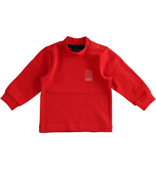 Solid colour turtleneck in cotton interlock for boy from 6 months to 7 years Sarabanda ROSSO-2253