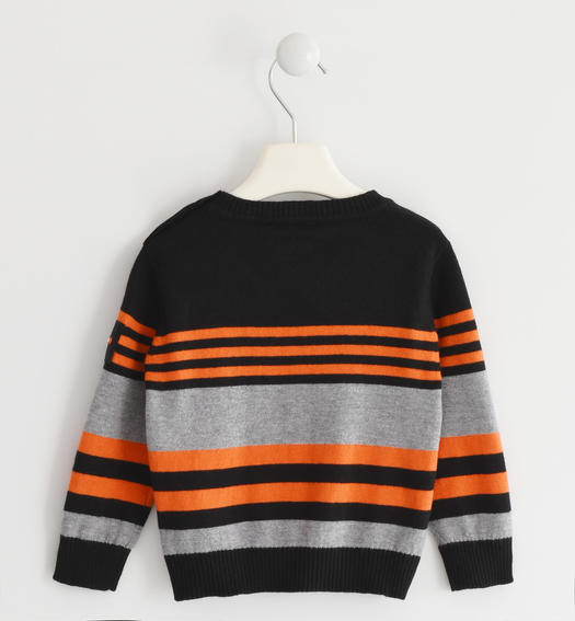 Sweater in winter tricot with a striped pattern for baby boys from 6 months to 7 years Sarabanda ARANCIO-1828
