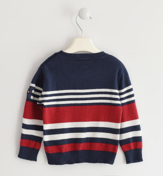 Sweater in winter tricot with a striped pattern for baby boys from 6 months to 7 years Sarabanda ROSSO-2536