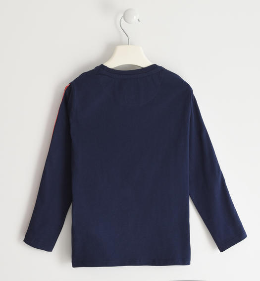 Sarabanda 100% cotton knit crewneck sweater for boy from 6 to 16 years NAVY-3854