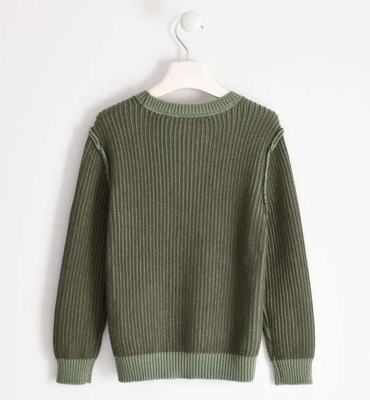 Ribbed round neck sweater in tricot for boy from 6 to 16 years Sarabanda VERDE MILITARE-5557