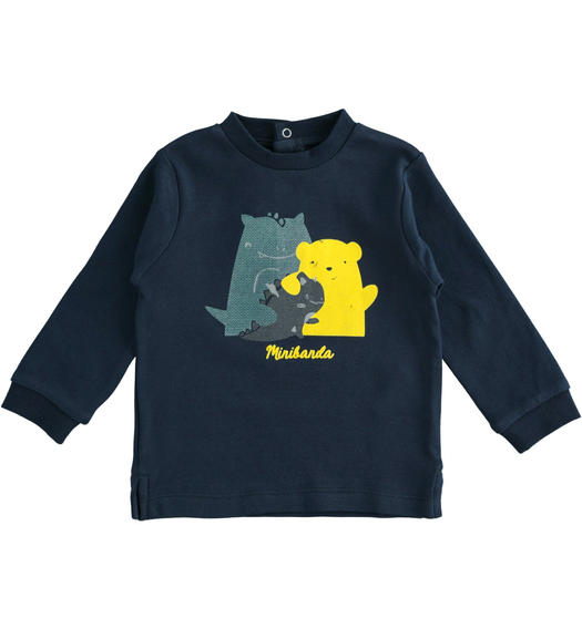 100% cotton long sleeves crewneck t-shirt for newborn baby from 0 to 24 months Minibanda NAVY-3885