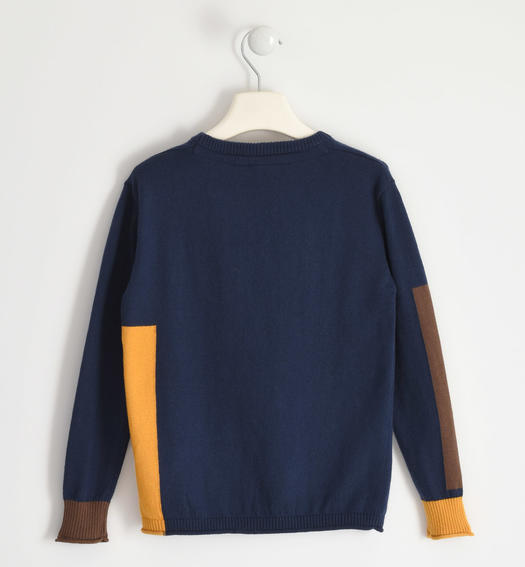 Round neck sweater with contrasting inserts for boy from 6 to 16 years Sarabanda NAVY-3885