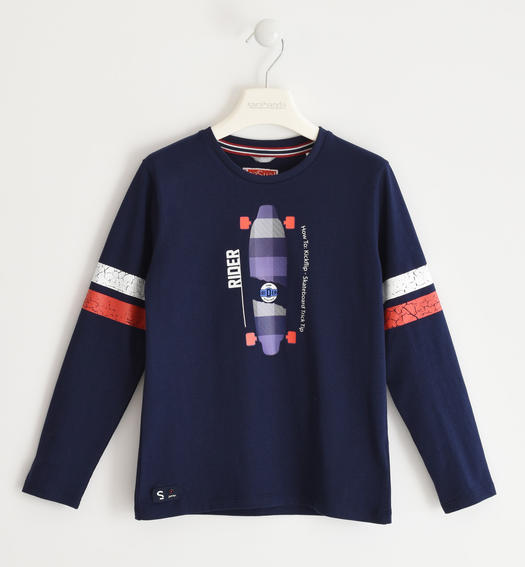 Sarabanda crew neck sweater with skateboard for boy from 6 to 16 years NAVY-3854
