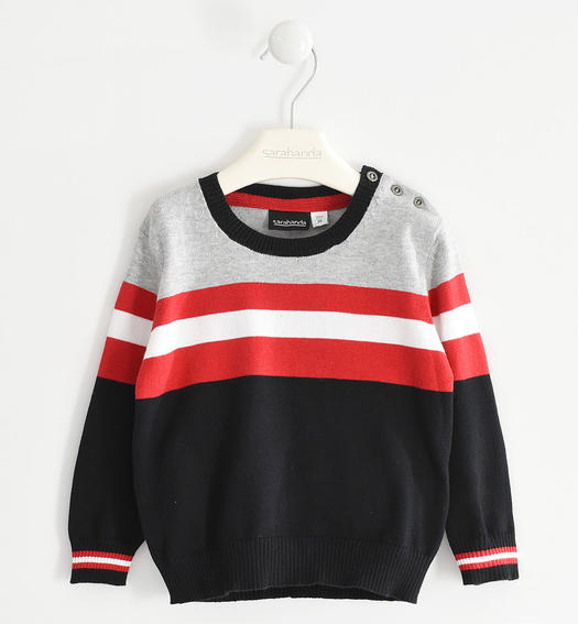 Tricot round neck sweater with colour blocks and stripes for boy from 6 months to 7 years Sarabanda NERO-0658
