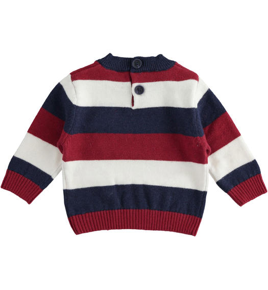 Newborn boy crew neck sweater in striped tricot from 0 to 24 months Minibanda BORDEAUX-2548