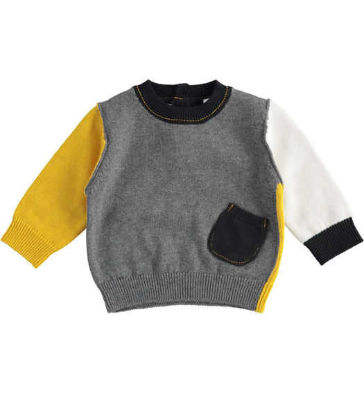 Tricot sweater with block colour game for newborn boy from 0 to 24 months Minibanda GRIGIO MELANGE-8993