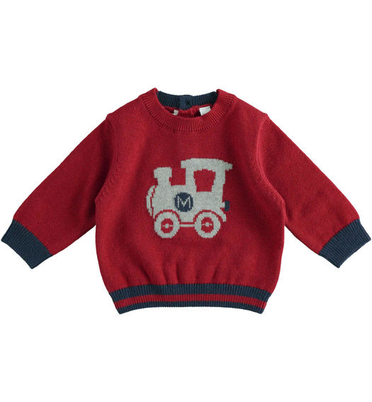 Tricot sweater with train for newborn boy from 0 to 24 months Minibanda BORDEAUX-2548