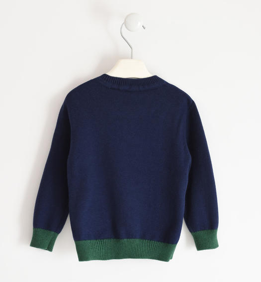 Two-tone winter knitted sweater for boy from 6 months to 7 years Sarabanda NAVY-3854