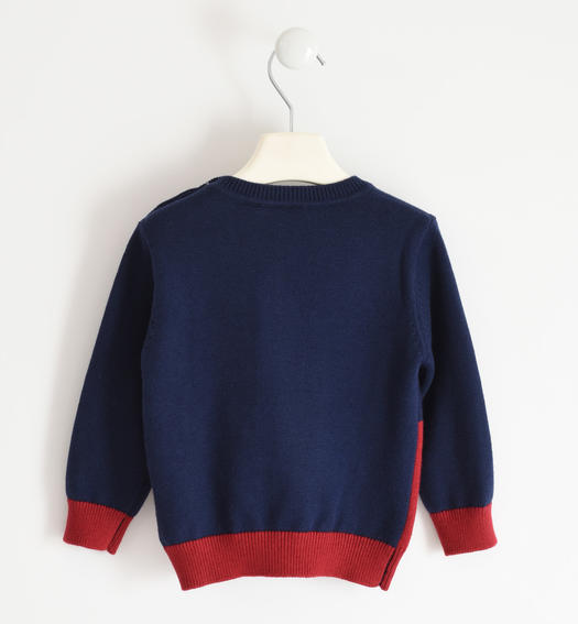 Two-tone winter knitted sweater for boy from 6 months to 7 years Sarabanda ROSSO-2536